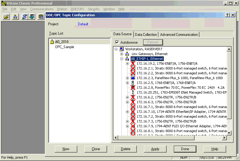 Figure 3.8 : Assigning the IP address to the OPC topic