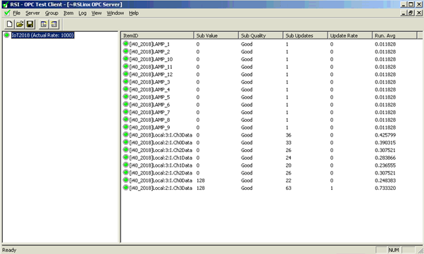 Figure 3.9 : Testing OPC data with OPC Test Client Tool
